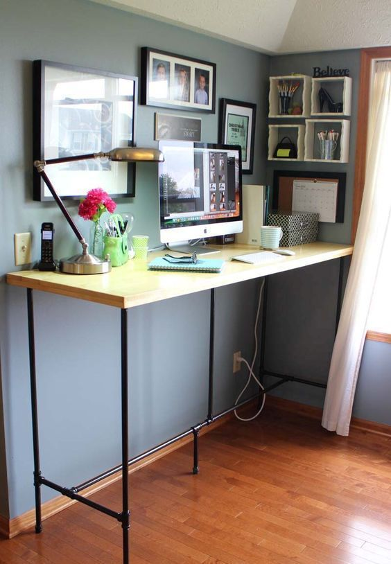 7 Beautiful Home Desk Ideas Make Comfortable For Cozy Study In 2020 Diy Standing Desk Home Desk Diy Standing Desk Plans