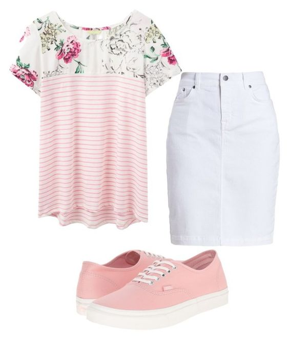 """Pink flowers"" by a-b-underwood on Polyvore featuring Vans, Joules and Barbour"