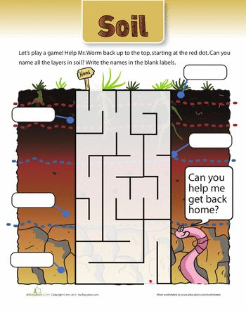 Soil maze maze worksheets and articles for Soil layers worksheet