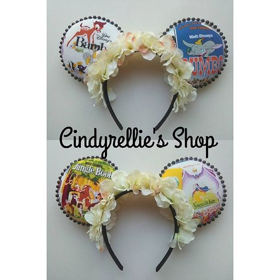 """""""Disney Posters"""" Floral Minnie Mouse Disney Ears! #Disney #Disneyland #DisneyWorld #WDW #FloralEars #DisneyEars #DisneyPosters #DisneyMovies #DisneyFloralEars  #CustomEars #HandmadeEars  #HandmadeCustomEars"""