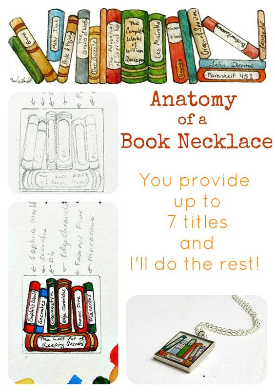 Book Lover's Portable Collection -- Custom hand painted necklace https://www.etsy.com/listing/79408193/book-lovers-portable-collection-custom#