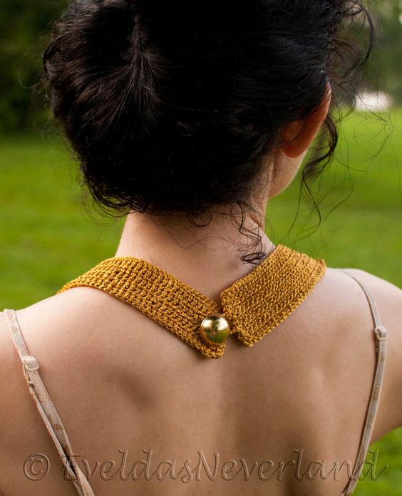 One of a kind, incredibly stylish totally handcrafted accessory. #Freeform, Modern, Avant Garde Statement Necklace. It has this intriguing look thanks to many crocheted stra... #neckwear #necklace #freeform #gold #easter