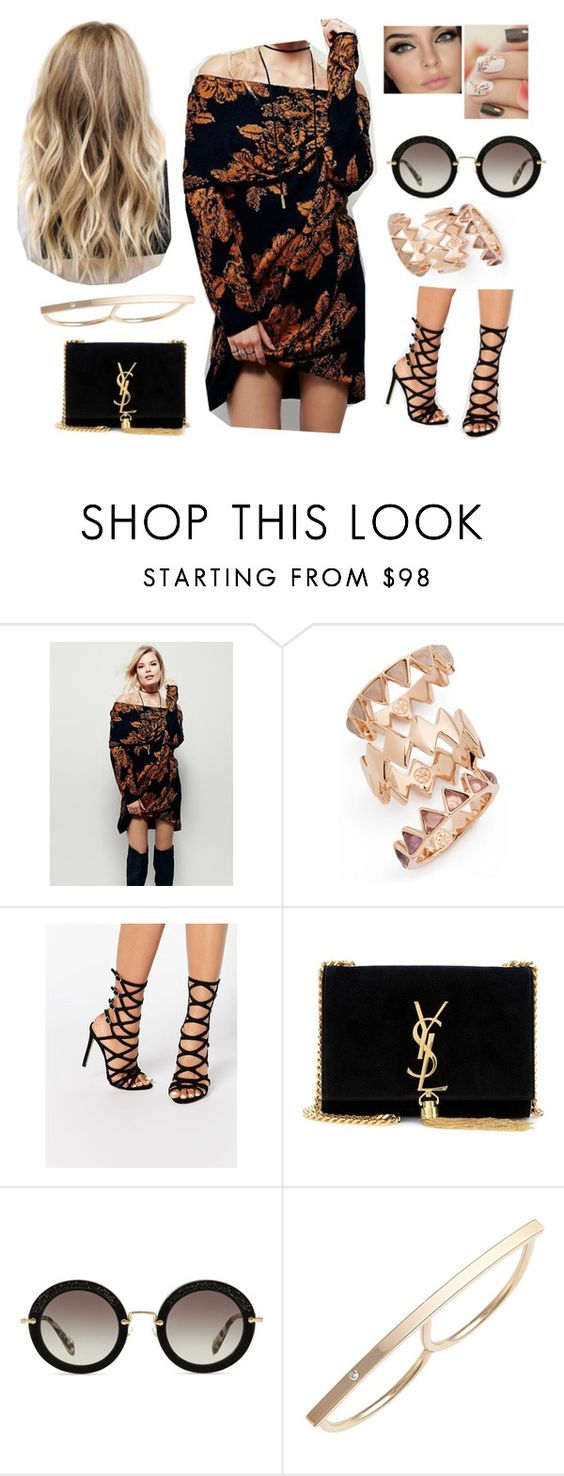 """""""Bez tytułu #14439"""" by sophies18 ❤ liked on Polyvore featuring Free People, Tory Burch, River Island, Yves Saint Laurent, Miu Miu and ZoÃ« Chicco"""