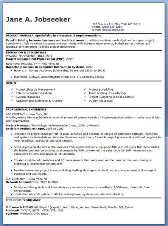 entry level it project manager resume