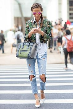 short jacket, long shirt with holy jeans. | beauty and fashion ...