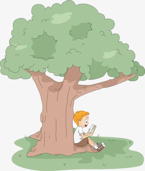 الكرتون شجرة تحت قراءة الولد Cartoon Clip Art Cartoon Trees Kids Reading
