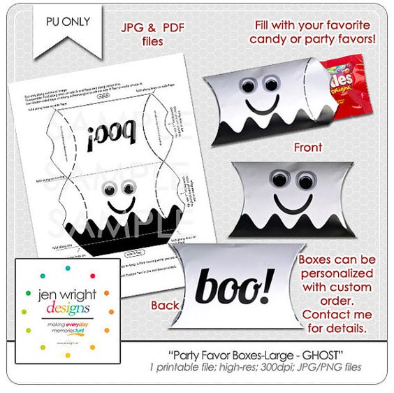 Halloween  Puffy Party Favor Box  GHOST Large #halloween #halloweenprintable #halloweentreat #halloweencandybox