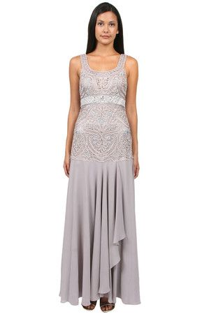 The Seutache Embroidered Bodice Gown in Platinum by Sue Wong at CoutureCandy.com