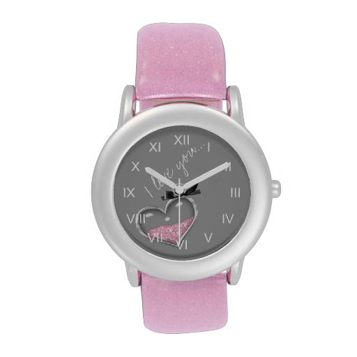 Pink and Silver Heart I Love You Watch