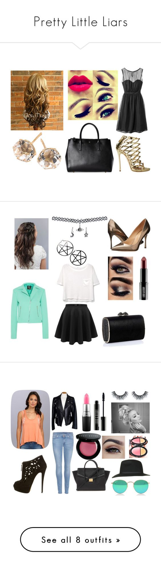 """""""Pretty Little Liars"""" by amybeliebs ❤ liked on Polyvore featuring Tevolio, Anya Hindmarch, Dsquared2, Ippolita, Sergio Rossi, Lord & Berry, Jimmy Choo, MANGO, McQ by Alexander McQueen and Wet Seal"""