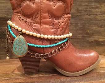 Boot Bling - Cowgirl Up - Boot Jewelry With Shades of Bronze, Pearl and Turquoise