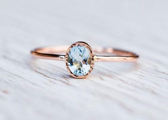 Aquamarine engagement ring in 14k Rose Gold,  Gold Aquamarine Ring,  March birthstone, Unique engagement, handmade