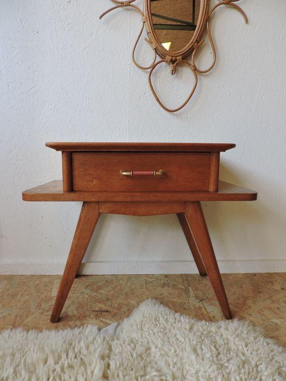chevet pieds compas des ann es 50 c te et vintage pinterest. Black Bedroom Furniture Sets. Home Design Ideas