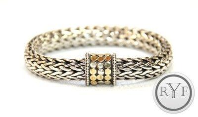 Auth John Hardy 925 Sterling Silver 18K Gold Dot Collection Large Weave Bracelet | eBay