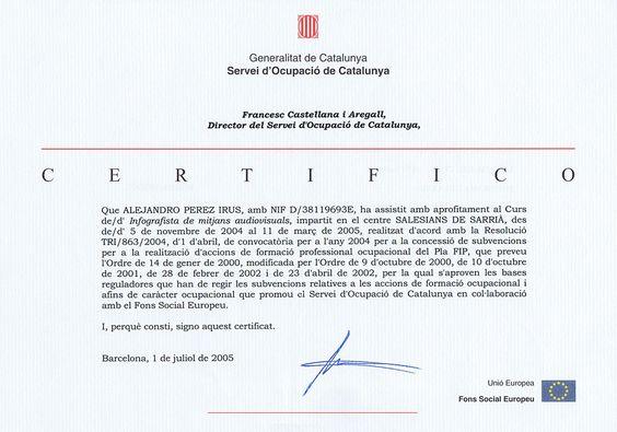 2005 Titulacion Diplomatura Reconocimento de Salesianos de Sarria en Barcelona de Infografista en Medios Digitales de Alejandro Perez Irus AlejandroPI