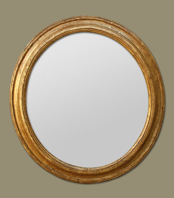 Miroir ancien rond dorure or broquante pinterest for Grand miroir rond
