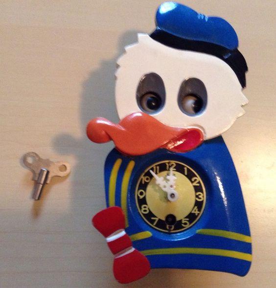 Vtg 60 S Mi Ken Disney Donald Duck Wall Clock Moving Eyes