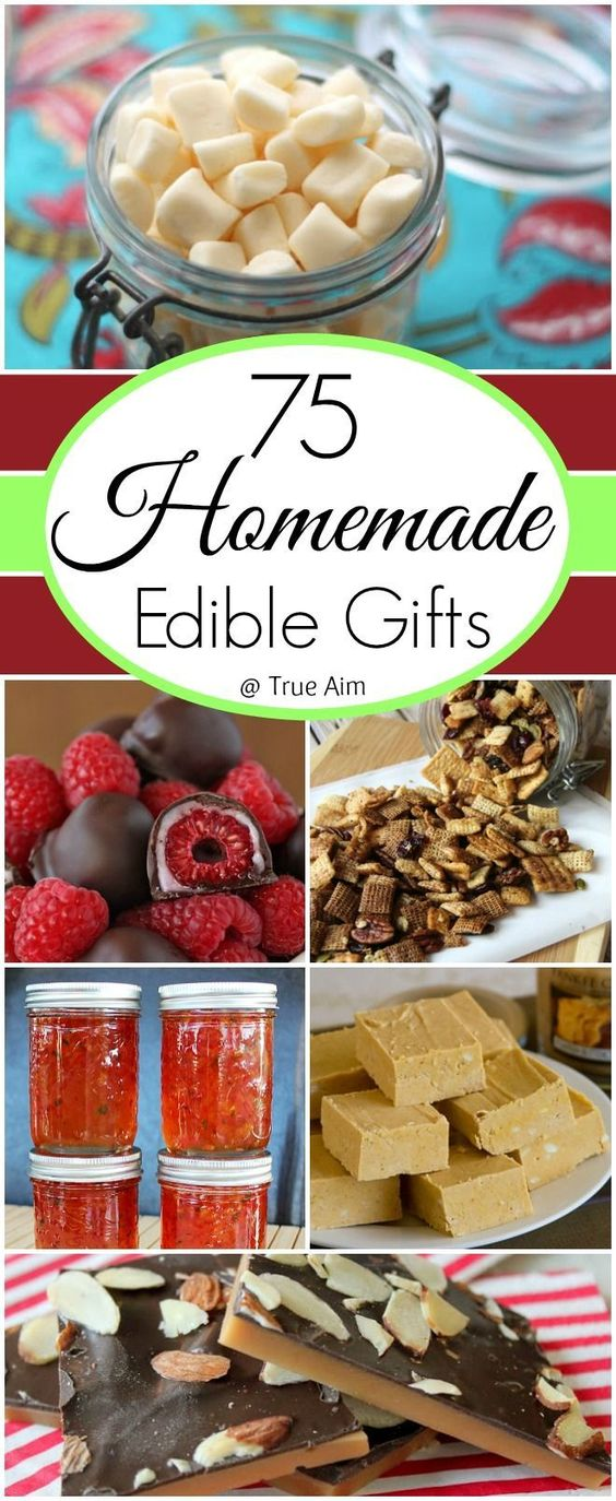 75 Ideas for Homemade Edible Gifts, gifts in jars, homemade truffles, Chocolate bark recipes, homemade candy and snacks!