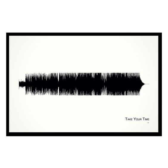 """Take Your Time - 11x17 Framed Soundwave print. Sam Hunt Limited quantity is hand-numbered by the artist. American made. Framed and ready-to-hang. 11""""x17"""" custom black wood frame with Museum Glass (filters out 97% of UV rays and eliminates reflection with more clarity than regular glass). The lines that Sam Hunt directs towards the lady that he is interested in getting to know are inventive and sincere. """"I think those interactions between strangers in terms of a guy going up and pursuing a..."""