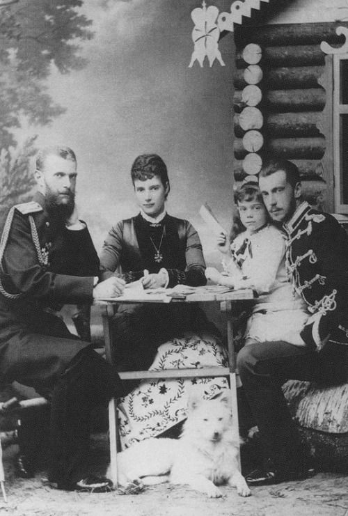 Grand Duke Sergueï Alexandrovitch, Empress Maria Feodorovna with her daugther Xenia and Grand Duke Paul Alexandrovitch.