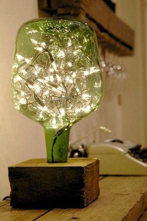 Ideas Inspiradoras Para Hacer Lámparas Con Botellas De Cristal Lámparas Con Botellas Botellas De Vidrio Lámparas De Botellas De Vino
