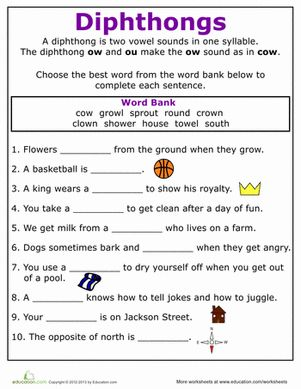 Worksheet Third Grade Phonics Worksheets phonics worksheets words and on pinterest second grade practice reading vowel diphthongs ow