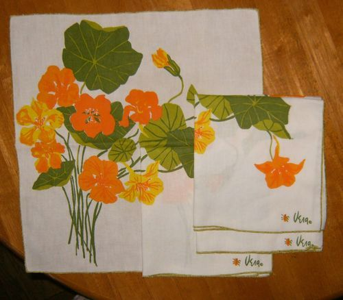 5 Vintage Vera Neumann Signed Ladybug Nasturtiums Floral Cloth Dinner Napkins | eBay