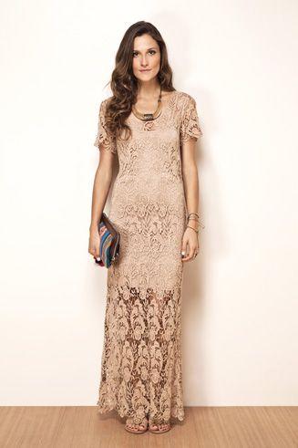 Vestido longo renda - Farm.: Nude Dresses, Clothing, Dresses, Of Renda