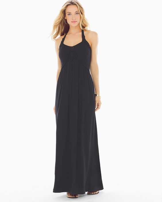 Soma Basketweave Maxi Dress Black, Size: