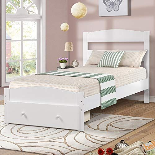 Wood Platform Bed Frame With Headboard And Storage White Wooden Bed Frame Twin 78 L X 41 7 W X 35 5 H Model Wf186776 Bed Frame Headboard White Wooden Bed Bed With Drawers