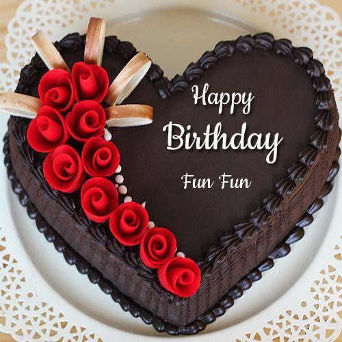 Beautiful Chocolate Heart Name Birthday Cake With Rose Chocolate
