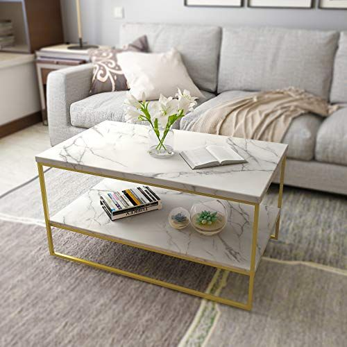 White Marble Coffee Table Gold Legs