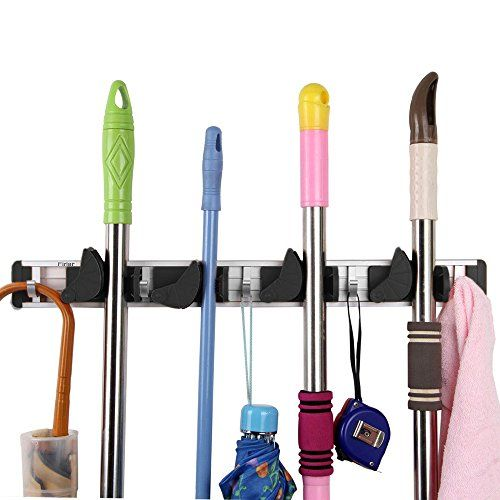 Trietree Mop And Broom Holder 4 Position With 5 Hooks Wall Mount Hanger Storage Organizer Rack For Kitche Broom Holder Kitchen Organization Wall Hanger Storage