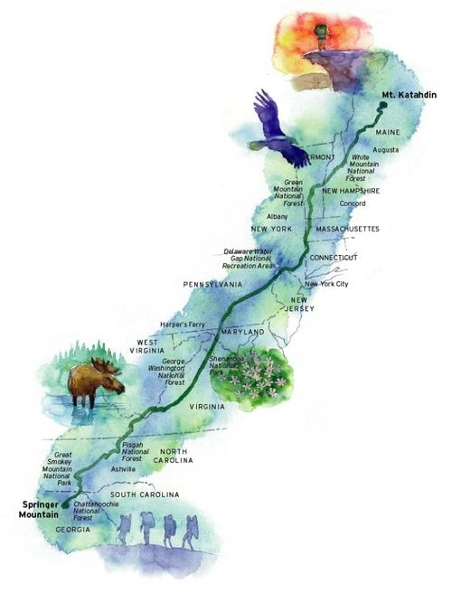 a watercolor map of the Appalachian Trail, which passes through fourteen states over 2,200 miles (3,500 km). it takes about four months to through-hike it. I can't wait!