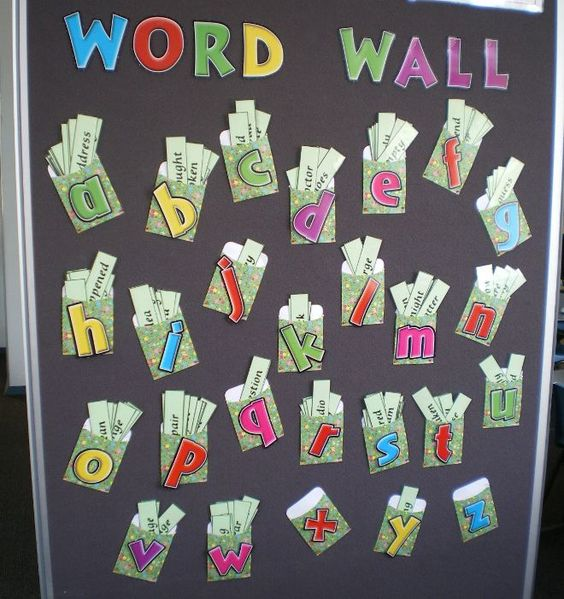 This word wall caters to older grades that use a lot more words: lettered library pockets with a slip for each word.