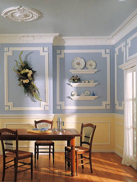 Marseilles ceiling medallion crown molding panel molding decorative rosettes chair rail sky - Design and decorations for dining room walls ...