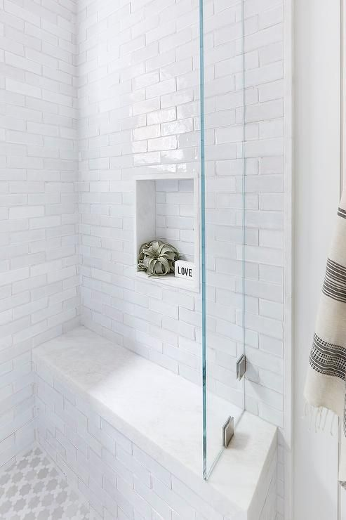 White Glazed Brick Shower Wall Tiles In A Cottage Bathroom Mixed With White And Gray Moroccan Style Floor Tiles In 2020 Shower Wall Tile Walk In Shower Small Bathroom
