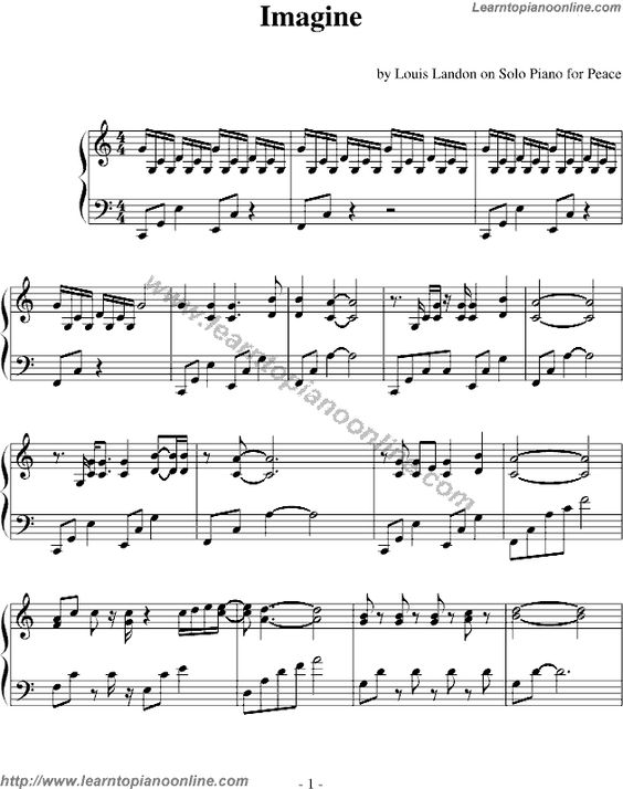 Piano piano tabs notes : beatles imagine sheet music | Imagine by The Beatles Free Piano ...