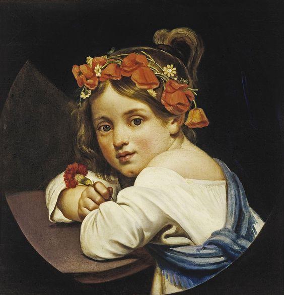 Кипренский Орест «Девочка в маковом венке, с гвоздикой в руке (Мариучча)» 1819 Холст, масло 42,5х40,9 Государственная Третьяковская галерея: