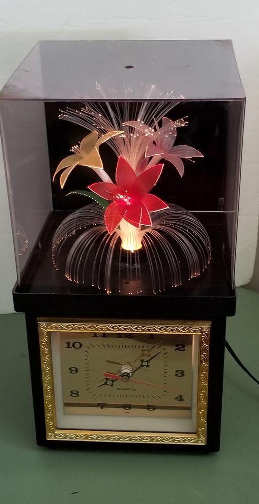 Vintage Fiber Optic Flower Lamp Clock Rotating Multi Color Light Changing Flower Lamp Novelty Lights Flower Clock