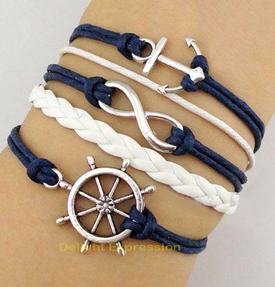 Wheels the o 39 jays and ship wheel on pinterest - Bracelet couple ancre ...