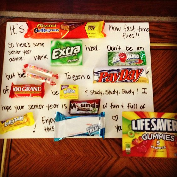 Candy poster for my senior home room students. Happy first day of school!!! Thanks Pinterest :)
