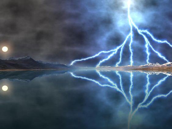 Lightning storm by moonlight