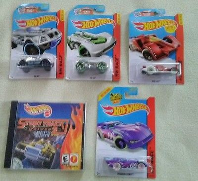 Hot wheels lot of 4 cars and 1 cd rom computer game