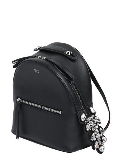 FENDI - LEATHER BACKPACK W/ CRYSTAL TAIL DETAIL - LUISAVIAROMA - LUXURY SHOPPING WORLDWIDE SHIPPING - FLORENCE