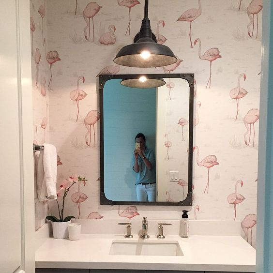 This flamingo wallpaper is as summery as it gets- loving this little powder bath at my client's home