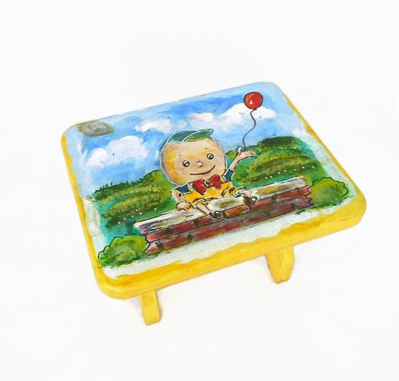 Humpty Dumpty  Child's Wooden Step Stool  by my3luvbugs on Etsy
