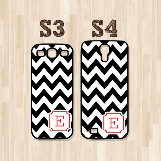 Personalized Samsung Galaxy S3 Case, Samsung Galaxy S4 Case, Black Chevron Red Corner Initial, Phone Case, Phone Cover, Christmas Gift (355)