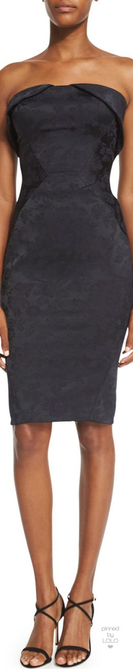 Zac Posen Strapless Fold-Over Jacquard Cocktail Dress | LOLO❤︎