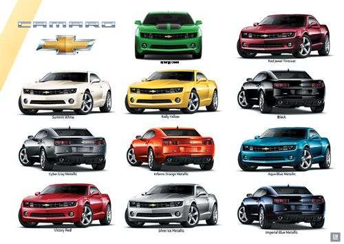 Camaro Paint Colors Chevrolet Camaro Exterior Colors - 1969 camaro paint codes colors